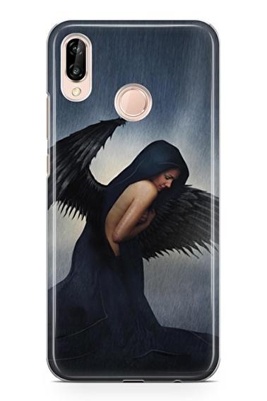 Lopard P20 Lite Kılıf Silikon Arka Kapak Koruyucu Black Angel Desenli Full HD Baskılı Renkli